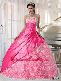 quinceanera pink dresses hot pink gown strapless floor length taffeta lace quinceanera