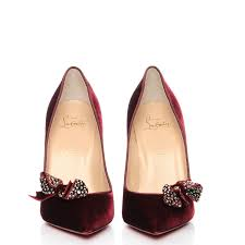 christian louboutin velvet madame menule bow 100 pumps 39 burgundy