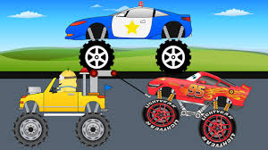 monster truck video for kids police truck vs red racing car kids monster truck video for