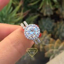 set rings round images Elegant 4 0ct 10mm round brilliant cut moissanite halo engagement jpg