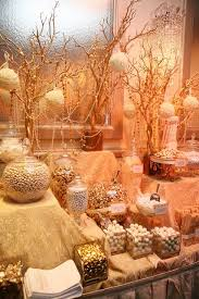 white gold candy display golden gala candy buffet wedding