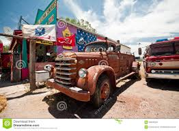 Vintage Ford Truck Commercials - seligman old vintage ford fire truck along route 66 editorial