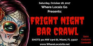 fright night bar crawl shots miami barhopping halloween