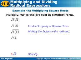 holt algebra multiplying and dividing radical expressions warm up