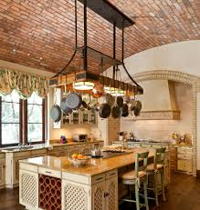 brick barrel ceiling home office rustic with ceiling lighting