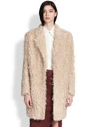 elizabeth and james iris shaggy faux fur boyfriend coat in natural