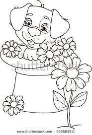 coloring outline cartoon puppy dog stock vector 593563511