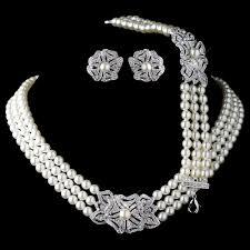 rhinestone necklace bracelet images Elegant rhodium silver tone ivory pearl rhinestone crystal jpg