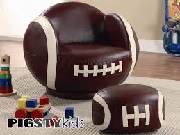 Childrens Faux Leather Armchair Large Kids Football Chair With Ottoman Boys Room Furniture My