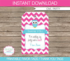 party favor labels owl birthday party favor tags thank you tags pink
