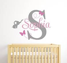 Nursery Room Wall Decor Custom Elephant Name Wall Decal For Baby Room
