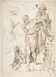 agostino carracci studies and sketches for figures standing