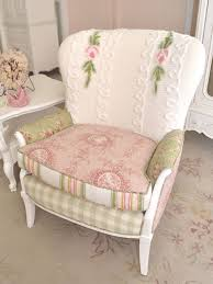 shabby cottage chic white pink sage rose chenille chair vintage