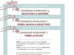 adjectives and nouns worksheet grammar worksheet pack nouns verbs adjectives and adverbs by