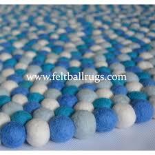 Wool Ball Rug Crystal Blue Round Felt Rug Felt Ball U0026 Rugs