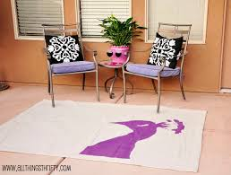 Diy Outdoor Rug With Fabric Diy Purple Peacock Rug All Things Thrifty