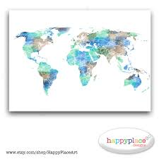 World Maps Printable by Watercolour World Map 8x10 Or 11x14 Inch Large Watercolour
