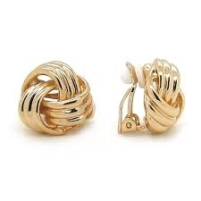 kids clip on earrings sparkly knot clip on earrings gold plated
