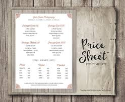 photography packages price sheet photography template photography price list