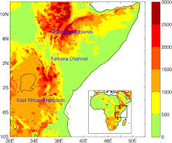 africa map elevation topographic elevation map m of east africa the insert shows the