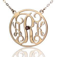 monogram gold necklace gold circle birthstone monogram necklace
