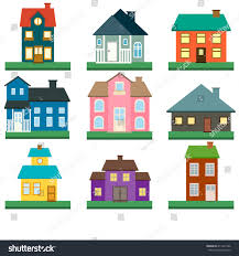 houses vector icons set colorful flat stock vector 411222106