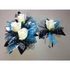 teal corsage teal black white prom corsage bout set mebane nc florist