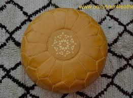 Mustard Yellow Ottoman Stitched Leather Mustard Yellow Ottoman Pouf Ottoman