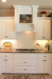 subway tile ideas for kitchen backsplash primus white 3x6 beveled subway tile in herringbone pattern
