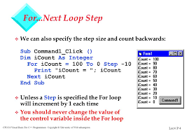 visual basic for loop lec4 p 1 cp2030 visual basic for c programmers copyright