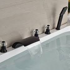 waterfall bathroom faucets kautz luxury 5 hole deck mount oil rubbed bronze waterfall bathtub
