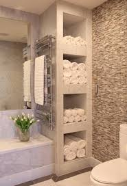 Towel Shelving Bathroom Bathroom With Shelves For Towels Feels Like A Spa Favething