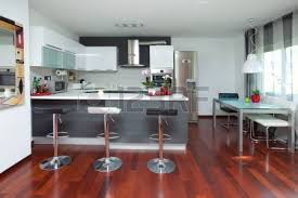 beautiful and modern kitchen interior design in new home stock