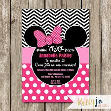 Minnie Invitation Card Pink Minnie Mouse Oh Two Dles Birthday Invites Pink Minnie