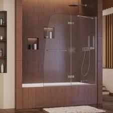 pivot shower doors showers the home depot semi framed pivot tub shower