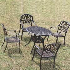 Patio Furniture White Heavy Duty Dining Table And Chairs White Bronze Anodized Aluminum