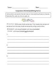 conjunctions worksheet joining sentences part 1 home schooling