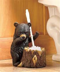 deer or bear rustic cabin lodge bathroom toilet brush and holder