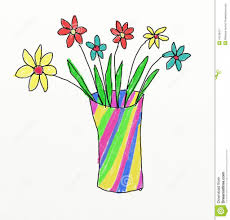 The Flower Vase Flower Vase Drawing Kid Flower Vase With Flowers Drawings For Kids