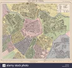 Map Of Vienna Vienna Wien Antique Town City Map Plan Tramways In Red Letts