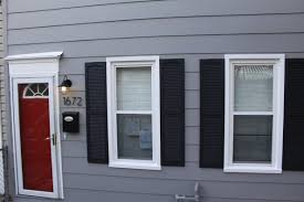 Gray Siding White Trim Black by Exterior The Little Pink House