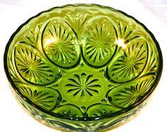 vintage green glass dish compote by quirkycrowsvintage