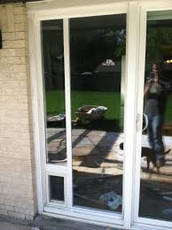 patio doors with dog door built in dog door installation sliding glass door 6 steps
