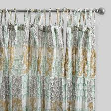 Curtains Set Boho Patch Crinkle Cotton Voile Curtains Set Of 2 World Market