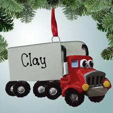 theme ornaments semi truck with personalized free