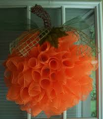 how to make a halloween wreath with mesh ribbon spiral deco mesh pumpkin wreath by adoorablecreations05 on etsy