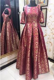 gown design pink brocade cold shoulder stylish indo western gown