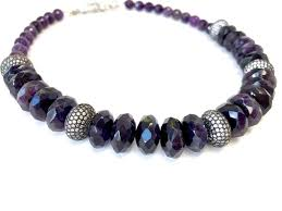 amethyst necklace beads images Amethyst necklace with pave disk beads dripping in gems jpg