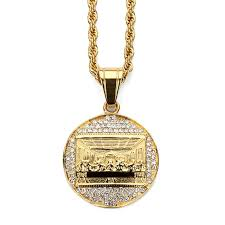aliexpress buy nyuk mens 39 hip hop jewelry iced out nyuk stainless steel men s jesus the last supper pendant necklace