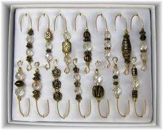 set of 6 swarovski clear bead ornament hangers by corkycat